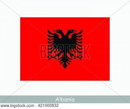 National Flag Of Albania. Albanian Country Flag. Republic Of Albania Detailed Banner. Eps Vector Ill