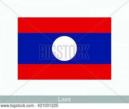 National Flag Of Laos. Laotian Country Flag. Lao People's Democratic Republic Detailed Banner. Eps V
