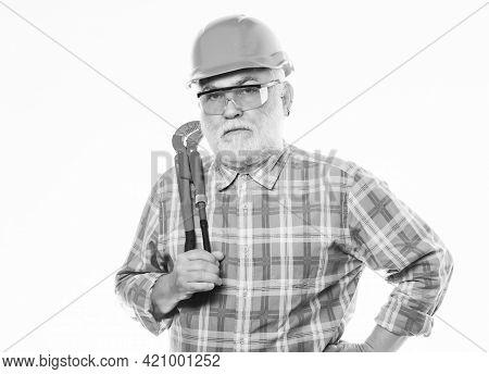 Plumber Repairing Or Renovating. Home Improvement. Plumber Workshop. Plumber Service. Man Bearded Pl