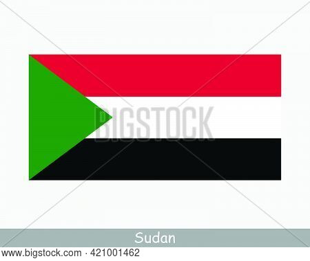 National Flag Of Sudan. Sudanese Country Flag. Republic Of The Sudan Detailed Banner. Eps Vector Ill