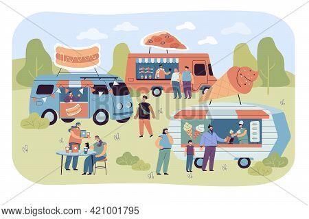 Crowd Of People At Street Food Fair In Summer. Pizza, Ice Cream And Hotdog Trucks Flat Vector Illust