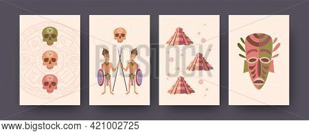 Ethnic Illustrations Set Of Mayan Culture Elements In Pastel Style. Tribesmen Crossing Spears, Ancie