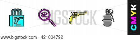 Set Buying Gun Pistol, Pistol Or Search, Revolver And Hand Grenade Icon. Vector