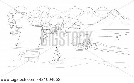 Coloring Of A Mountain Landscape With Camping On The Shore Of A Lake, River. For Coloring Book, Post