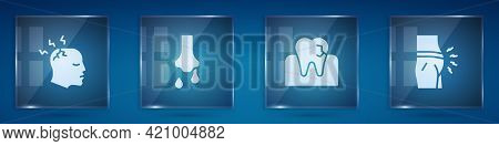 Set Man Having Headache, Runny Nose, Tooth With Caries And Abdominal Bloating. Square Glass Panels.