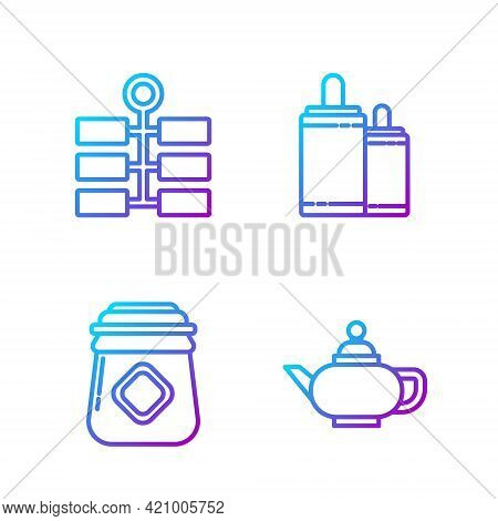 Set Line Chinese Tea Ceremony, Jar Of Honey, Firework And Firework. Gradient Color Icons. Vector