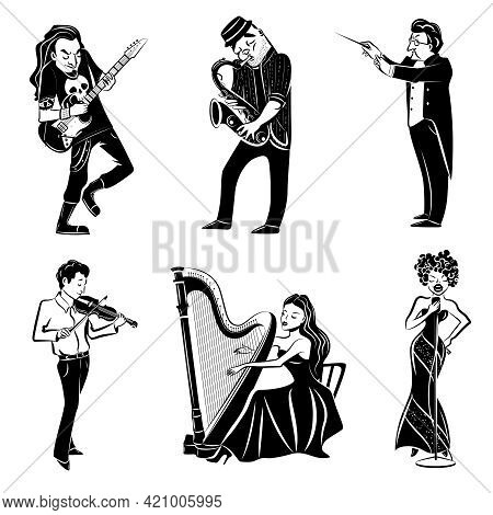 Musicians Playing Harp Violin Guitar Saxophone And Symphony Orchestra Conductor Black Icons Set Abst