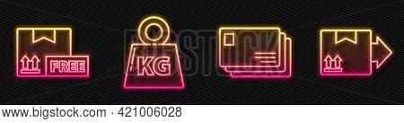 Set Line Envelope, Cardboard Box With Free Symbol, Weight And Cardboard Box With Traffic Symbol. Glo