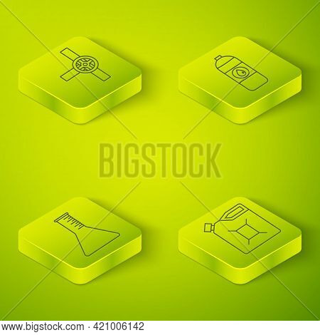 Set Isometric Canister For Motor Machine Oil, Oil Petrol Test Tube, Canister For Gasoline And Indust