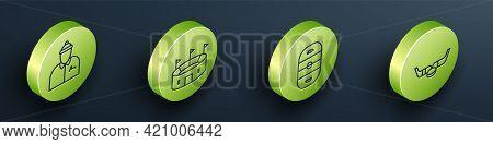 Set Isometric Hockey Coach, Hockey Stadium, Ice Hockey Rink And Ice Hockey Sticks And Puck Icon. Vec
