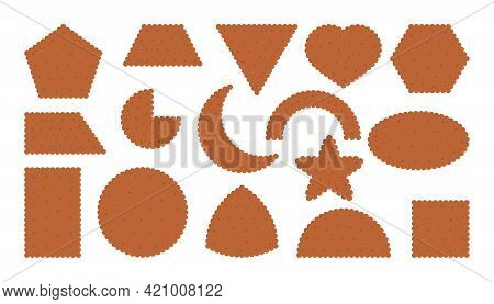 Chocolate Cracker Biscuit Icons Set. Breakfast Snack In Flat Cartoon Style. Collection Tasty Food Co
