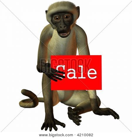 3D Render of an Figure with Sale Sign poster