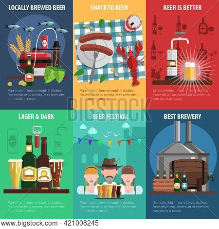 Beer Festival Mini Poster Set With Food And Drink Symbols Isolated Vector Illustration
