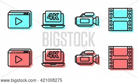 Set Line Cinema Camera, Online Play Video, Laptop With 4k Video And Play Video Icon. Vector