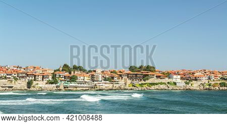 View Of The Black Sea From The Town Of Sozopol, Bulgaria. In The Background Is A Fragment Of The Res