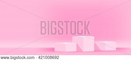 Pink Pastel Pedestal Stage For Cosmetics Make-up Product Showcase, Modern Podium 3 Step For Product