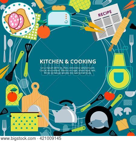 Home Healthy And Fast Cooking  Concept Poster With Kitchen Appliances And Recipes  Pictograms Compos