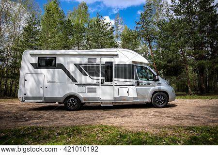 Belarus - 11.05.2021 - Camper. Mobile Home On A Highway. House On Wheels.