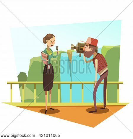 Female Journalist With Mic And Male Cameraman Retro Style Cartoon Vector Illustration