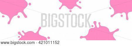Milk Splash Pink On White For Banner, Milky Splatter Pink For Background, Copy Space, Milk Blob Shap