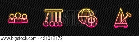 Set Line Psychology, Psi, Users Group, Pendulum And Metronome With Pendulum. Glowing Neon Icon. Vect