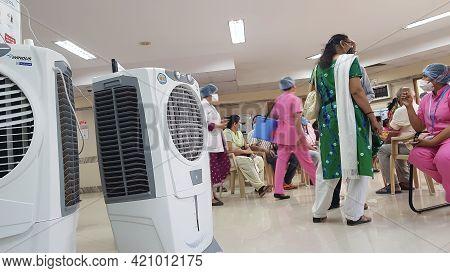 Mumbai, Maharashtra, India, April 13 2021: Air Cooler Used At The Waiting Area Of A Hospital Which I