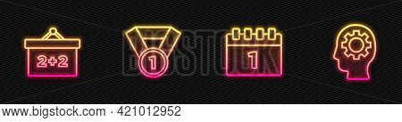 Set Line Calendar First September Date, Chalkboard, Medal And Head With Gear Inside. Glowing Neon Ic