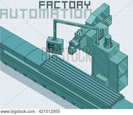 Factory Line And Control Panel Illustration
