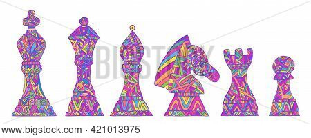 Set With Colorful King, Queen, Bishop, Knight, Rook And Pawn Chess Pieces, Each Figure With Its Own
