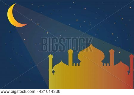 Mosque Silhouette In The Moonlight, Ramadan Mubarak