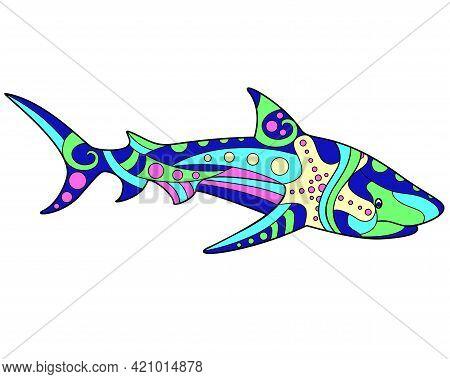 Shark - Vector Linear Full Color Illustration. Ocean Animal - Multicolored White Shark With Patterns