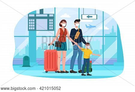 Cute Happy Family With Suitcases Walking Together At The Airport In Face Masks. Concept Of Family Tr