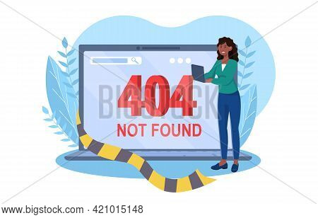 Disapointed Female Character Is Holding Laptop With System Error. Concept Of 404 Not Found Error On