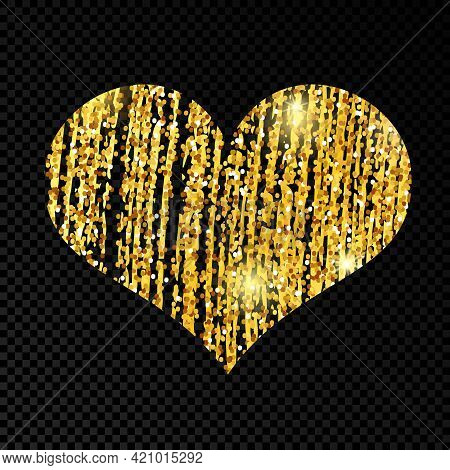 Heart With Golden Glittering Scribble Paint On Dark Transparent Background. Background With Gold Spa