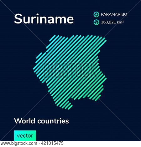 Vector Creative Digital Neon Flat Line Art Abstract Simple Map Of Suriname With Green, Mint, Turquoi