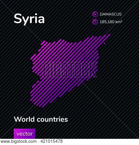 Vector Creative Digital Neon Flat Line Art Abstract Simple Map Of Syria With Violet, Purple, Pink St