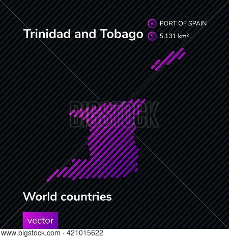 Vector Creative Digital Neon Flat Line Art Abstract Simple Map Of Trinidad And Tobago With Violet, P