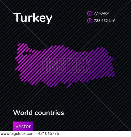 Vector Creative Digital Neon Flat Line Art Abstract Simple Map Of Turkey With Violet, Purple, Pink S