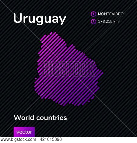 Vector Creative Digital Neon Flat Line Art Abstract Simple Map Of Uruguay With Violet, Purple, Pink