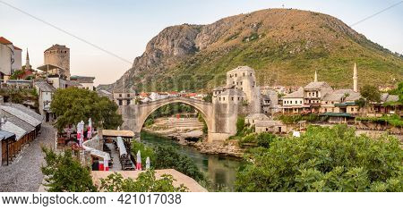 Panorama of the Mostar old town with famous Stari Most bridge at sunset, Bosnia and Herzegovina