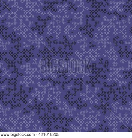 Purple Cross Stitch Camouflage Seamless Pattern For Your Design. Fashionable Blue Violet Knit Fabric