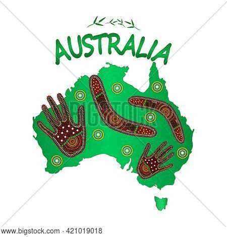 Map Of Australia With Two Hand And Boomerang Isolated On White Background. Australian Continent. Aus