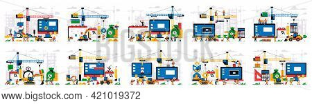 Set Of Vector Illustrations, Website Under Construction. Error Page, Page Maintenance. Website Const