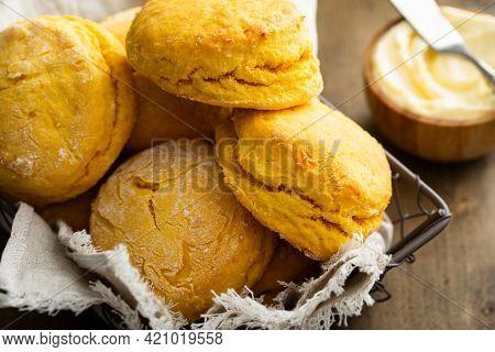 Sweet Potato Buttermilk Biscuits Homemade For Breakfast