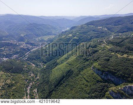 Aerial View Of Iskar River Gorge, Balkan Mountains Near Village Of Zasele, Bulgaria