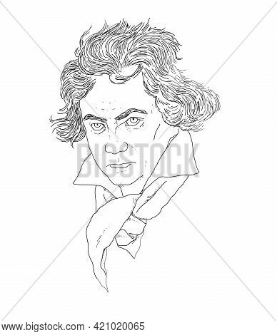 Illustrated Realistic Portrait Of The German Composer Ludwig Van Beethoven
