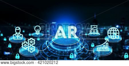 Ar, Augmented Reality Icon. Business, Technology, Internet And Network Concept.3d Illustration