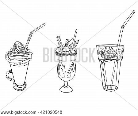 A Set Of Soft Drinks And Milkshakes. Vector Illustration On A White Background.