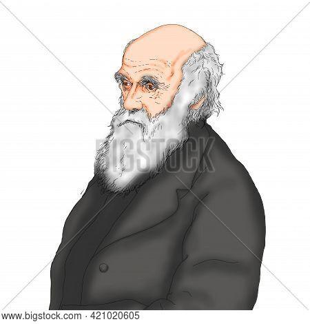 Realistic Illustration By British Naturalist Scientist Charles Darwin