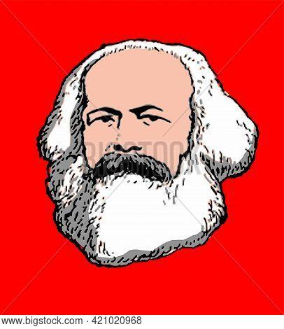 Realistic Illustration Of The 19th Century German Thinker Karl Marx